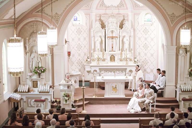 Sacred Heart of Mary Catholic wedding ceremony in Boulder County