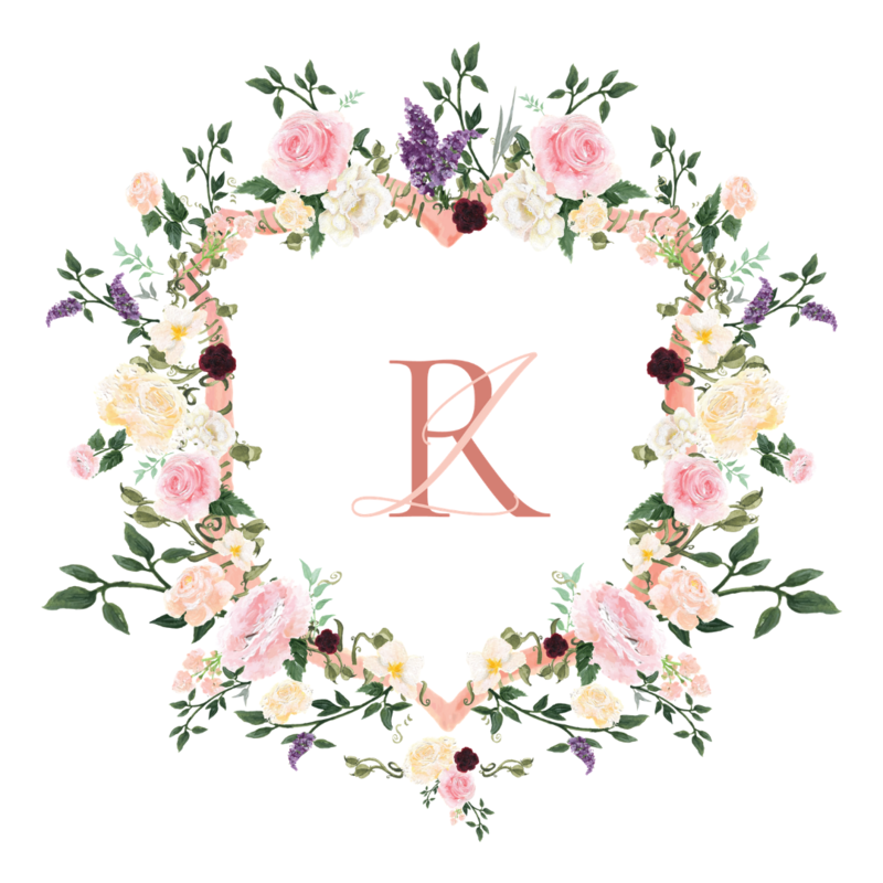 Custom floral watercolor wedding crest in spring colors