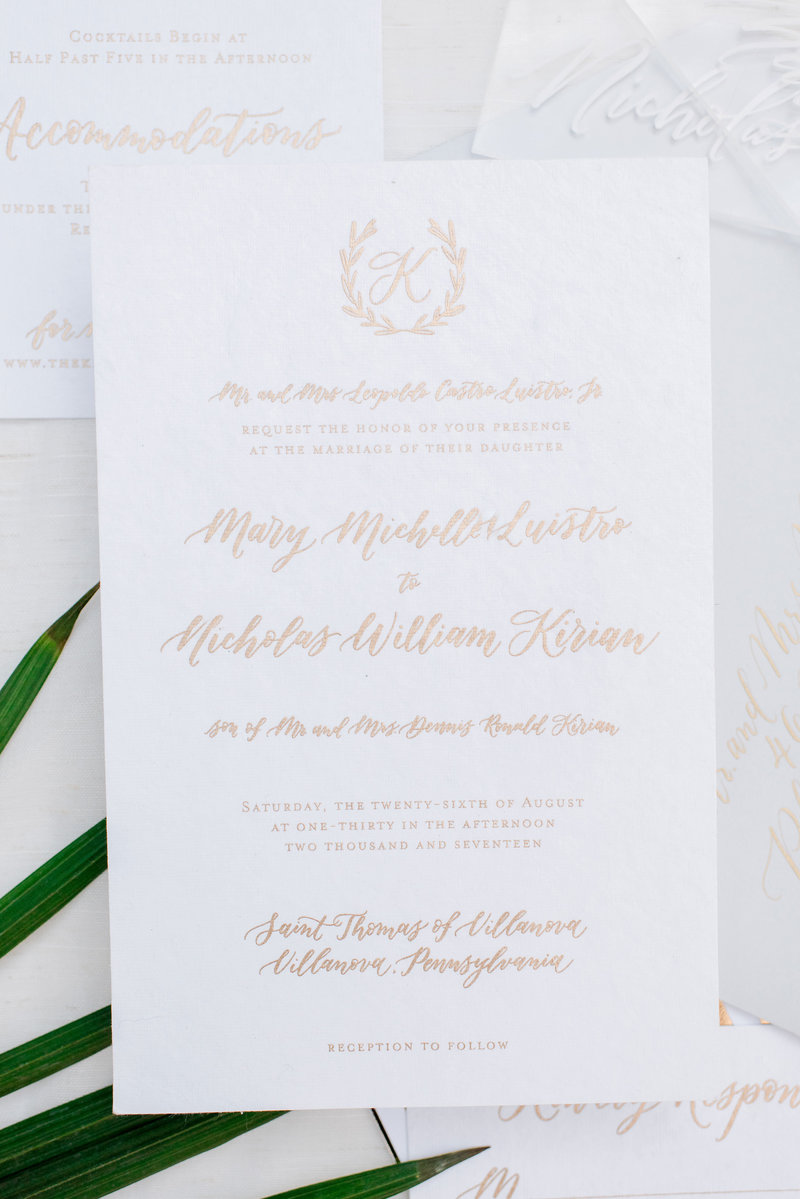 Custom hand lettering wedding invitation with gold ink