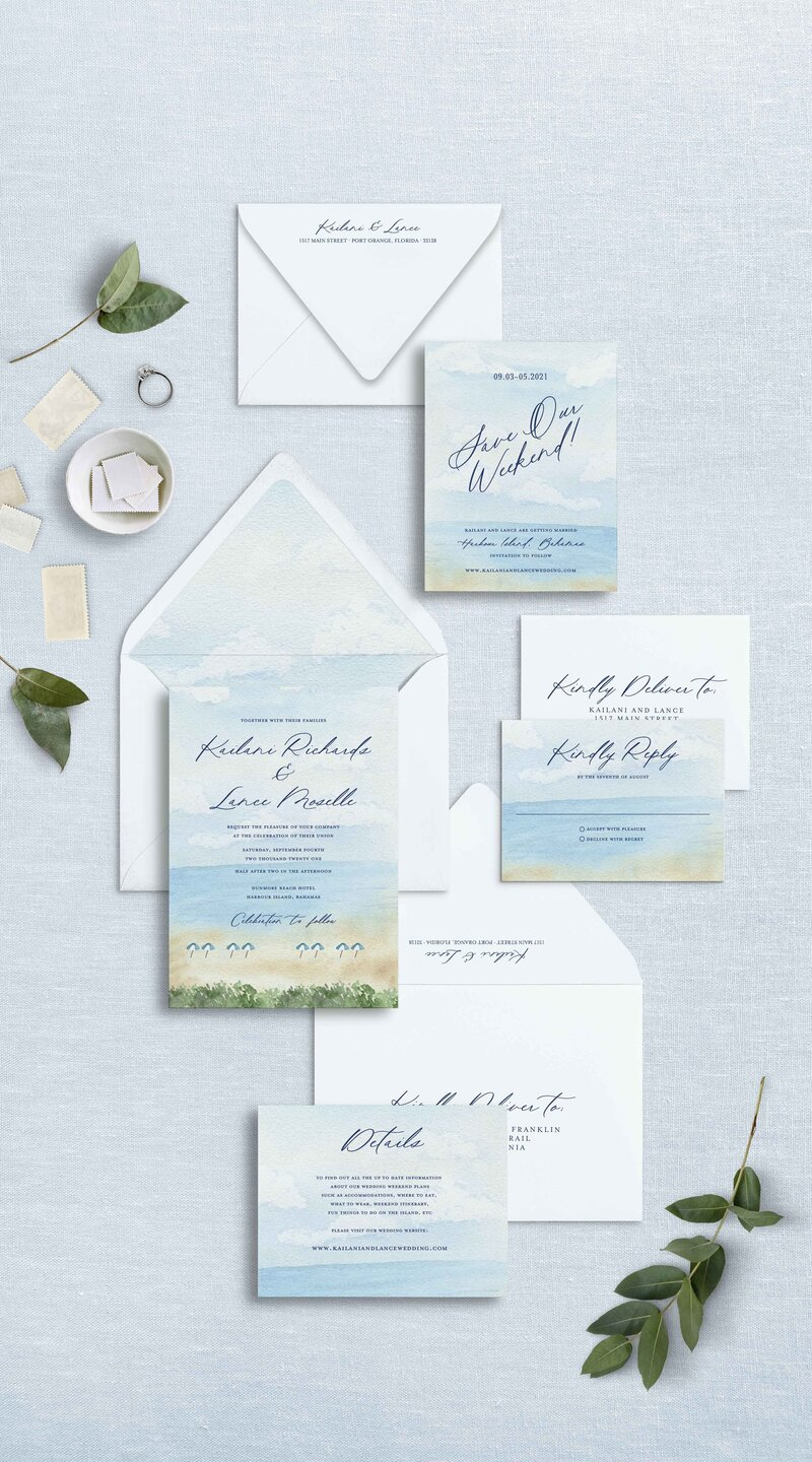 Watercolor Beach Scene Wedding Invitation Suite