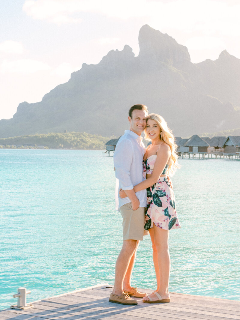 Couple Photo shoot Four Seasons Bora Bora overwater bungalow Mountain Otemanu blue lagoon