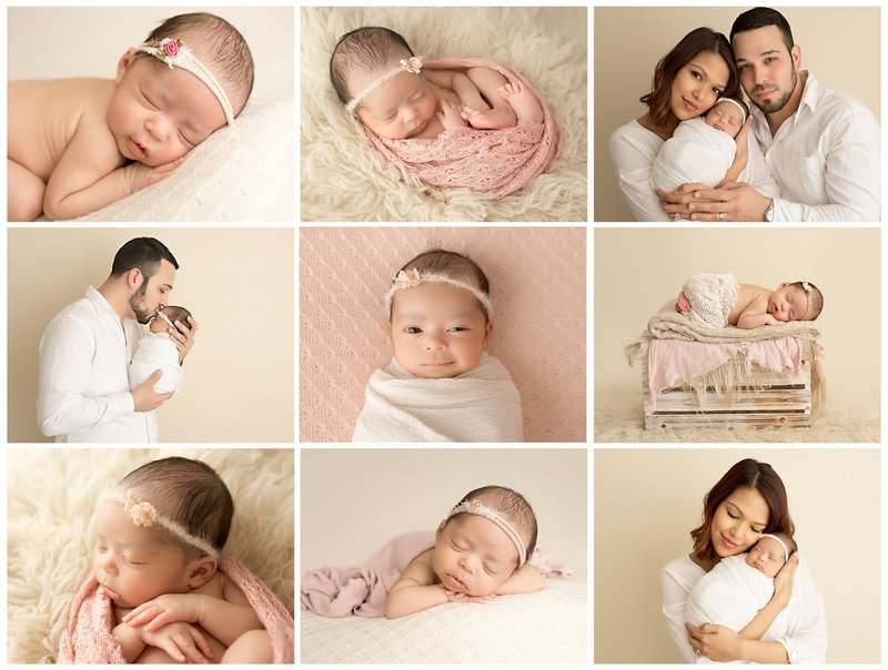 newborn session with pink