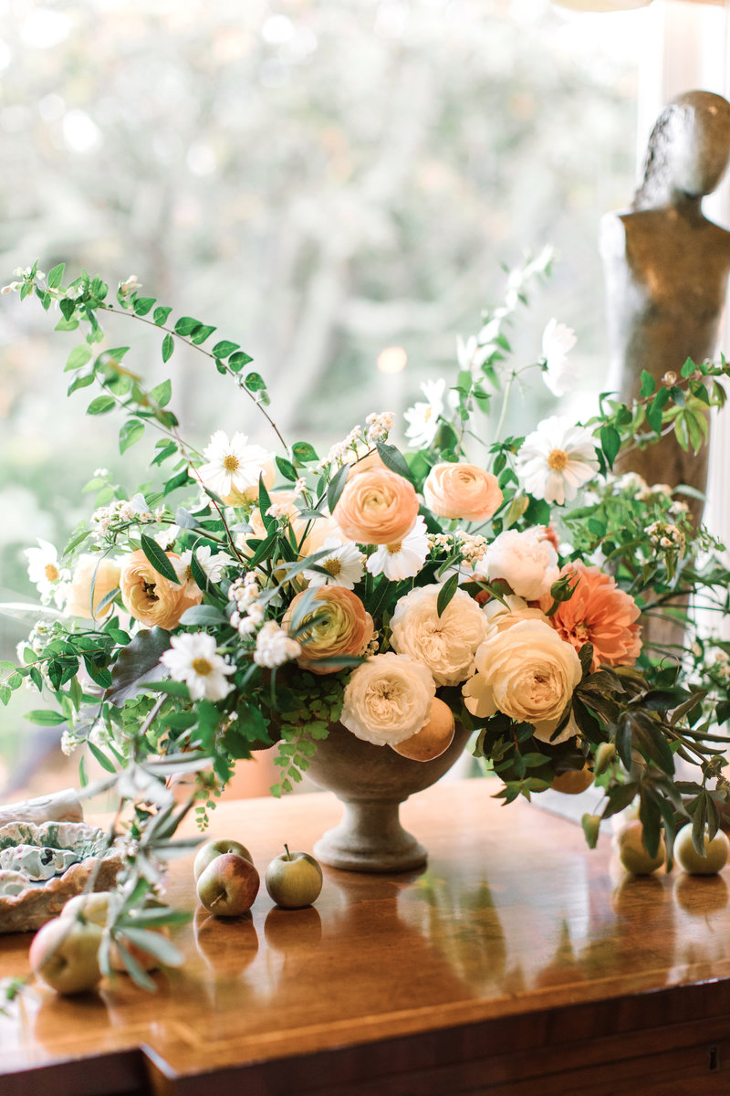 Flowers for wedding by Jenny Schneider Events at a private residence in Marin County, California.