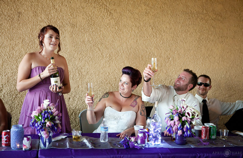 Wedding toasts at the City Park Pavilion on a summer day in Denver