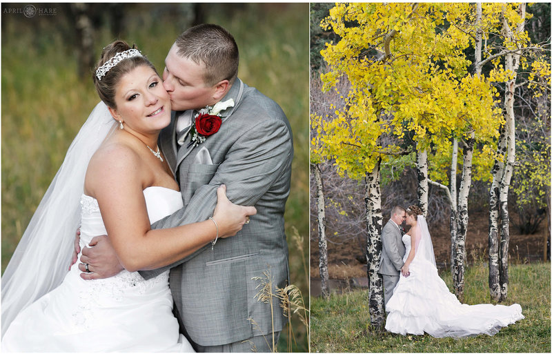 Pretty Fall wedding with yellow aspen leaves at The Pines at Genesee
