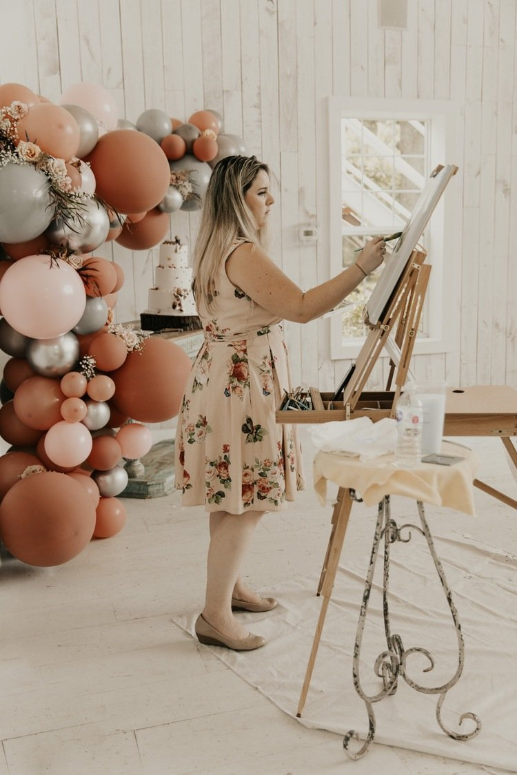 Dallas live wedding painter at the White Sparrow Barn outside Dallas TX photographed by Madison Katlin Photography