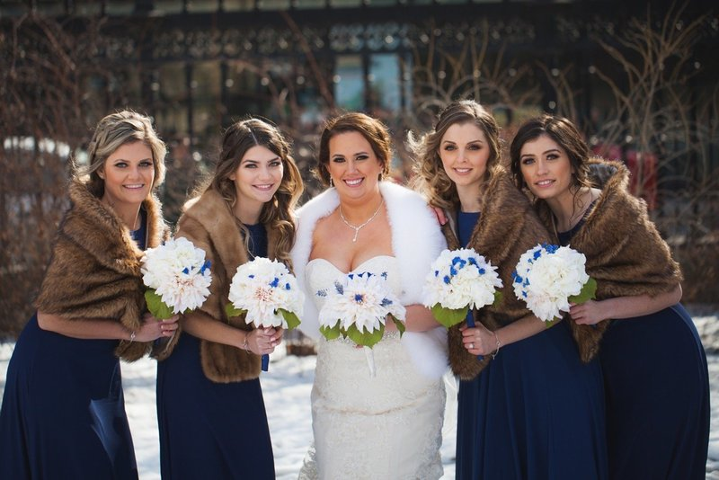Bridal party with professional hair and makeup in toronto