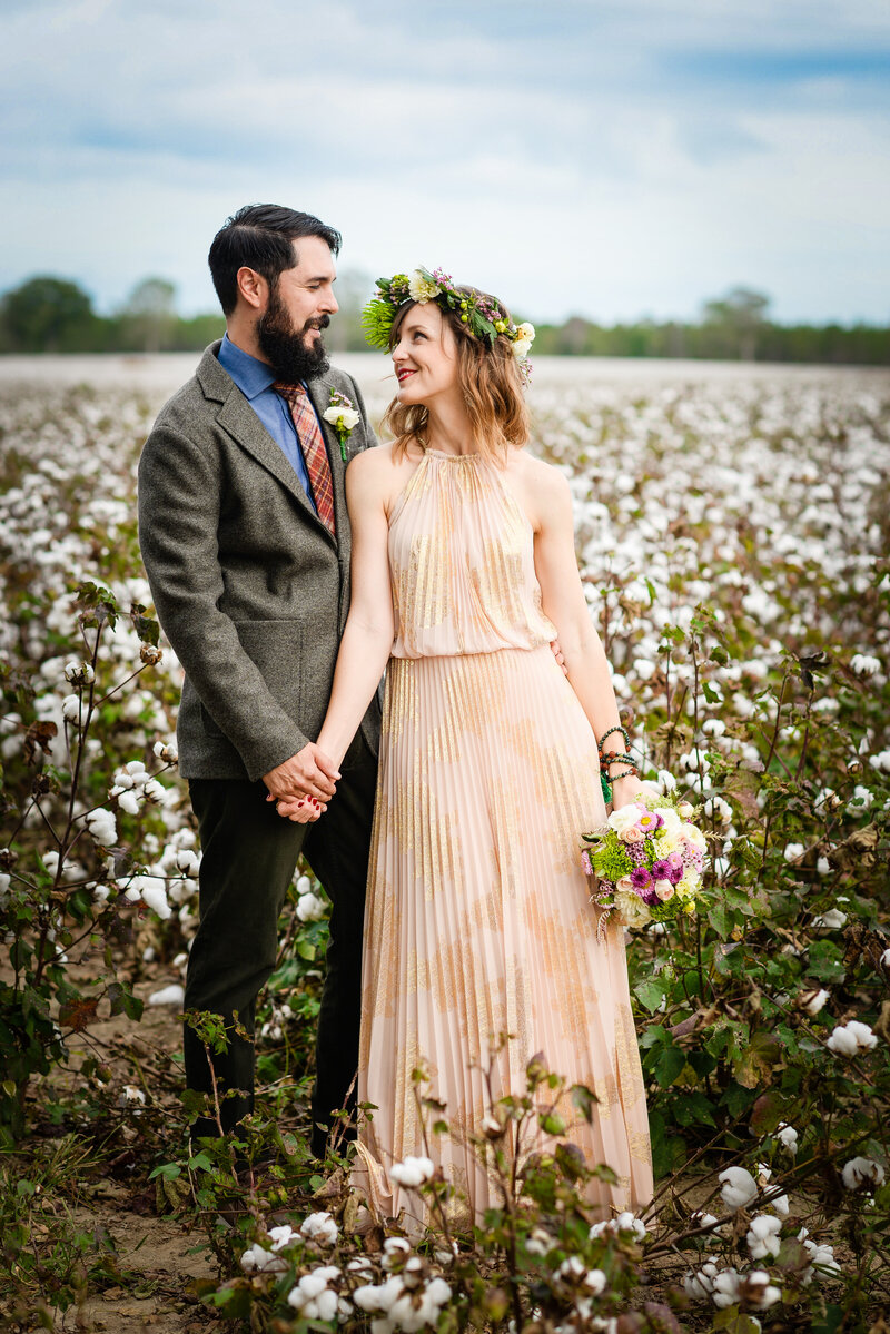 Bride and Groom in a Mississippi Cotton Field