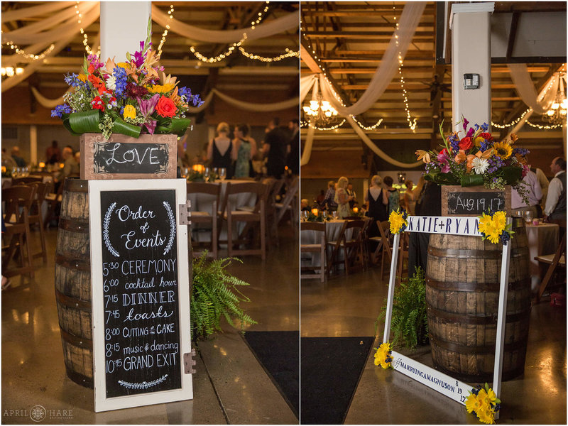 Chalkboard sign at Church Ranch Event Center Reception hall