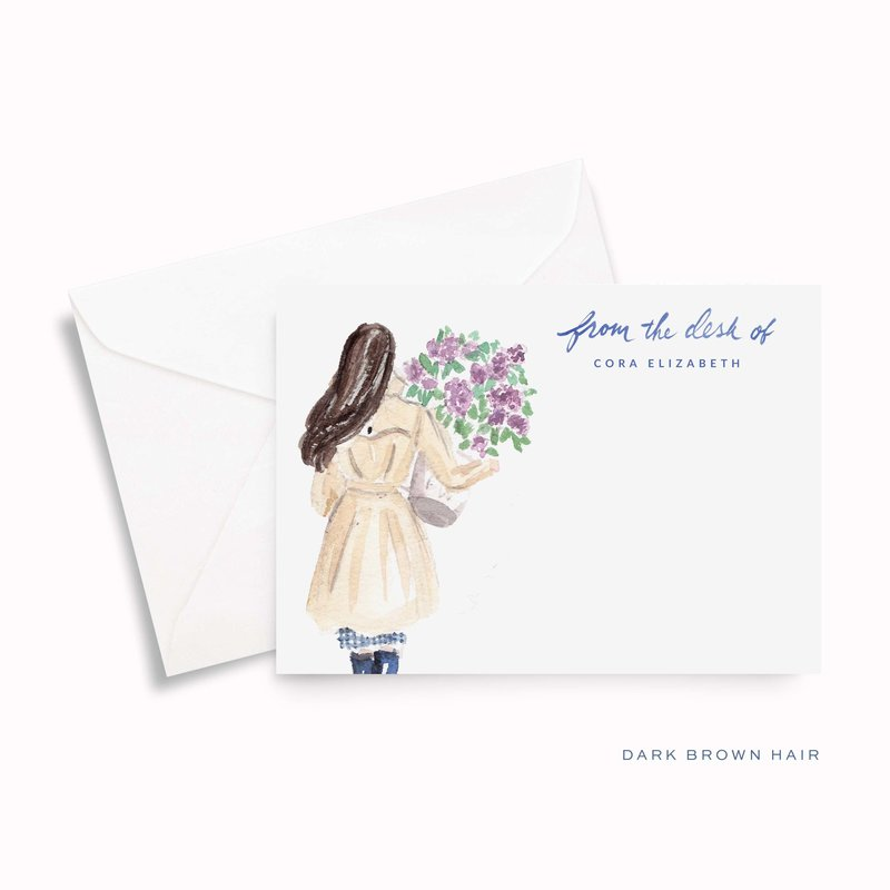 lilac girl spring watercolor personalized stationery dark hair