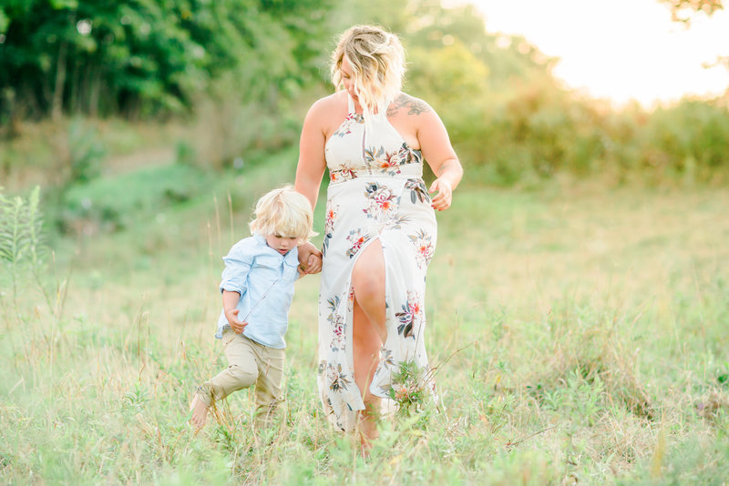 Mother and Son Family Session in Field Summer