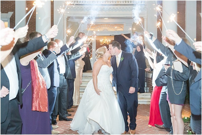 bride and groom sparkler exit at The Poinsett Club