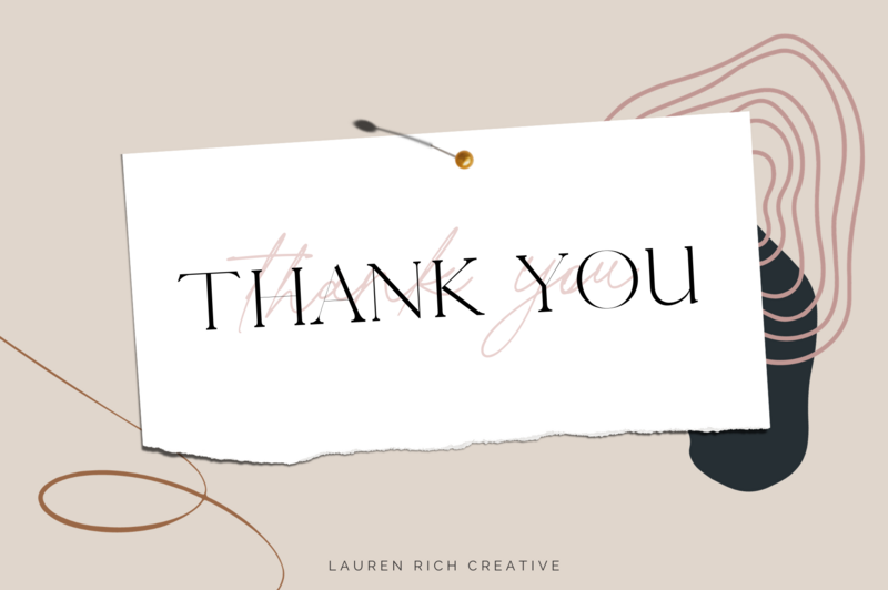 A graphic with a thank you note pinned.