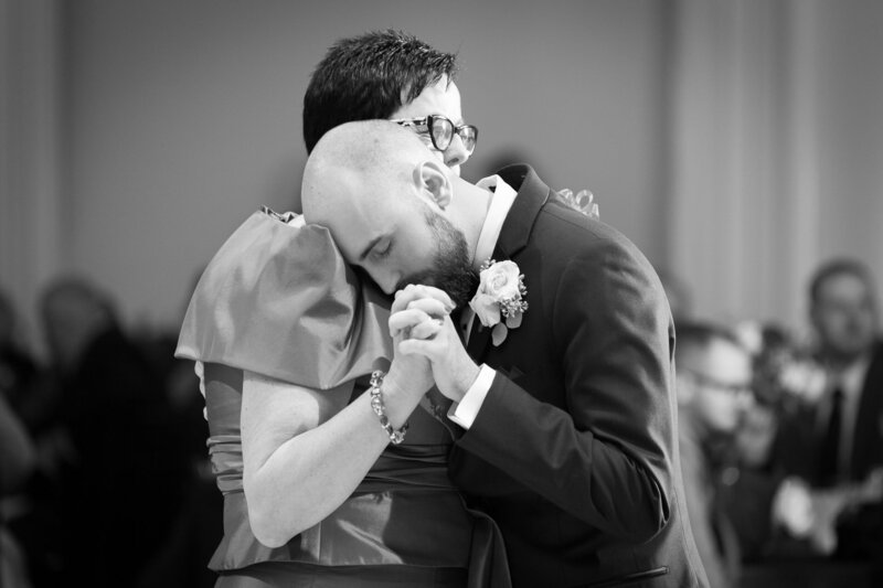 mother son dance on wedding day at cityflats ballroom port huron