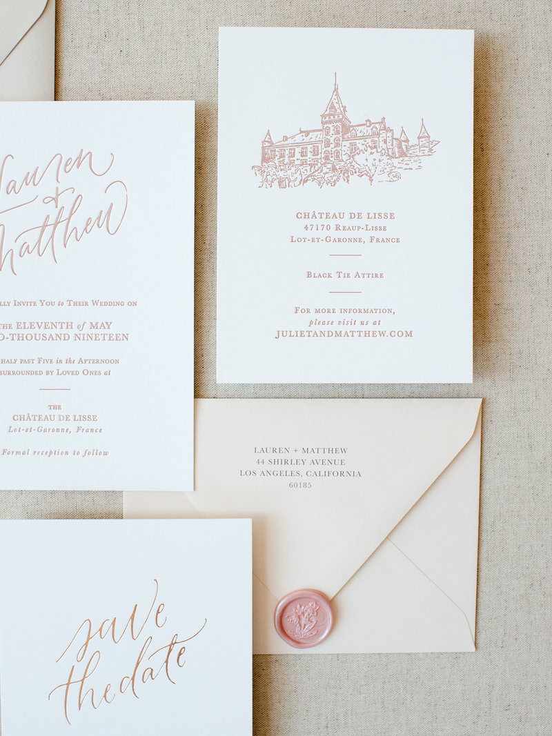 Semi-Custom Invitations - Simple Elegance Collection with Details Card with Custom Illustration Closeup