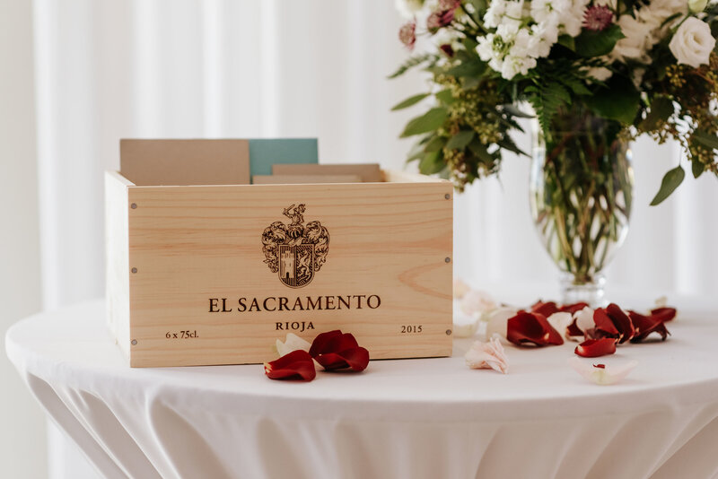 "alt=""wine crate card box wedding"""