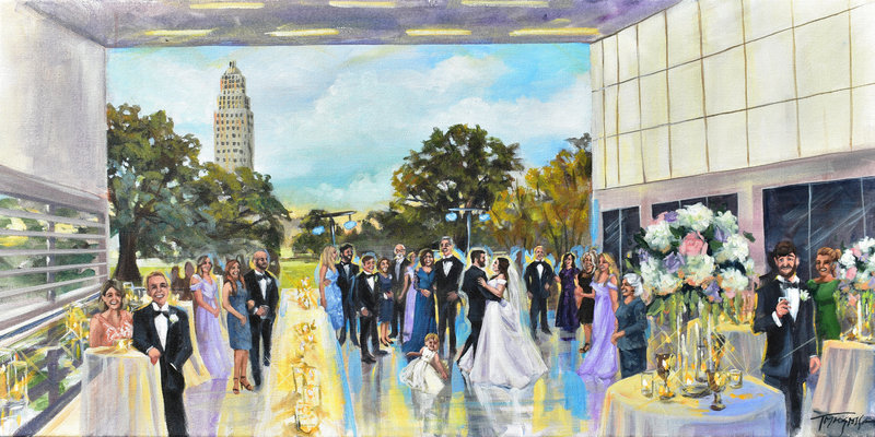 Torregrossa Fine Art original live wedding painting by Stephanie Torregrossa Gaffney 2018 Baton Rouge Capitol Park Museum Wedding