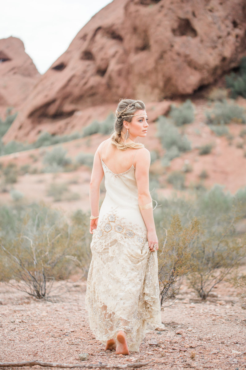Arizona Bohemian Bride in Field