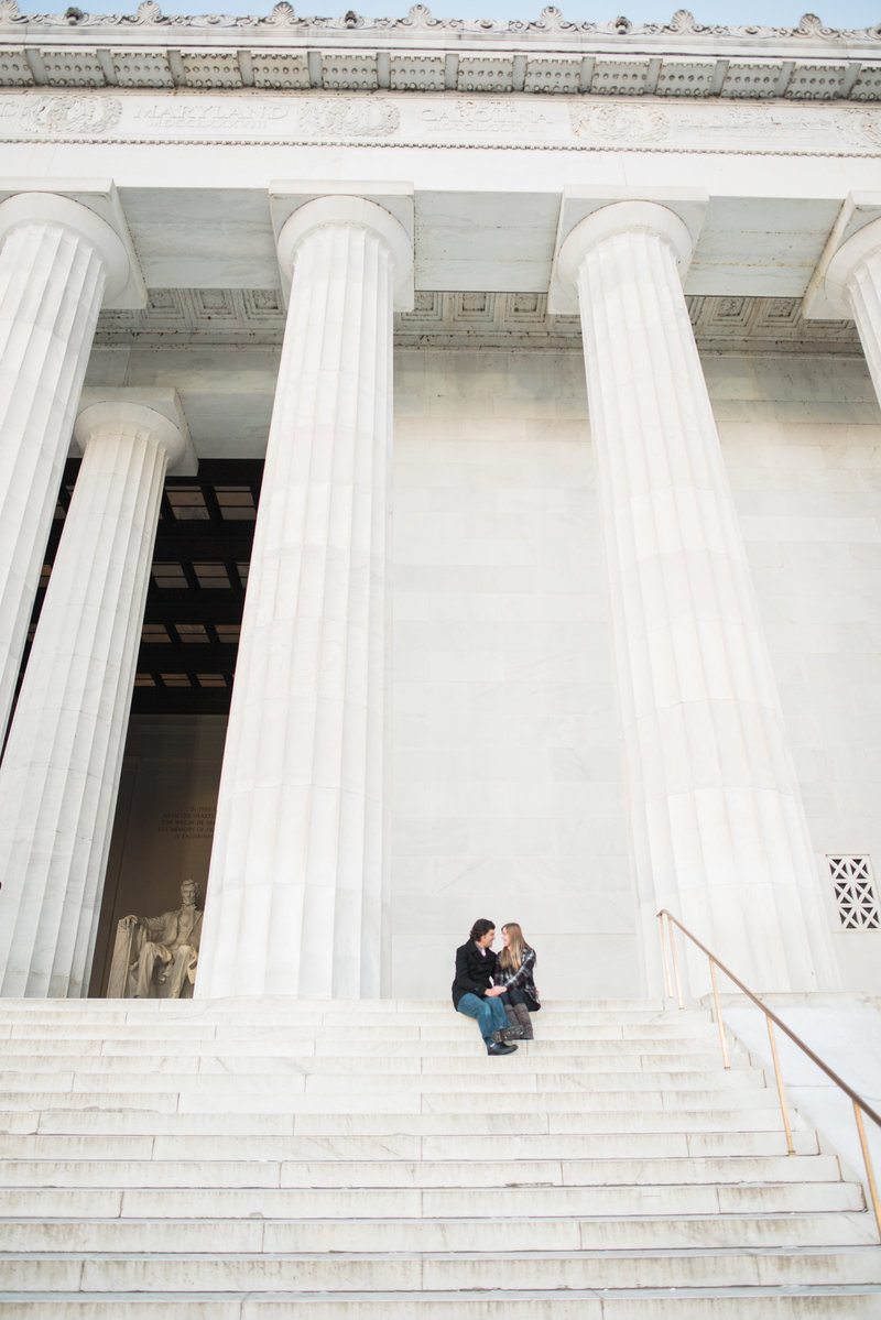 Winter Engagement Photos at Lincoln Memorial in DC