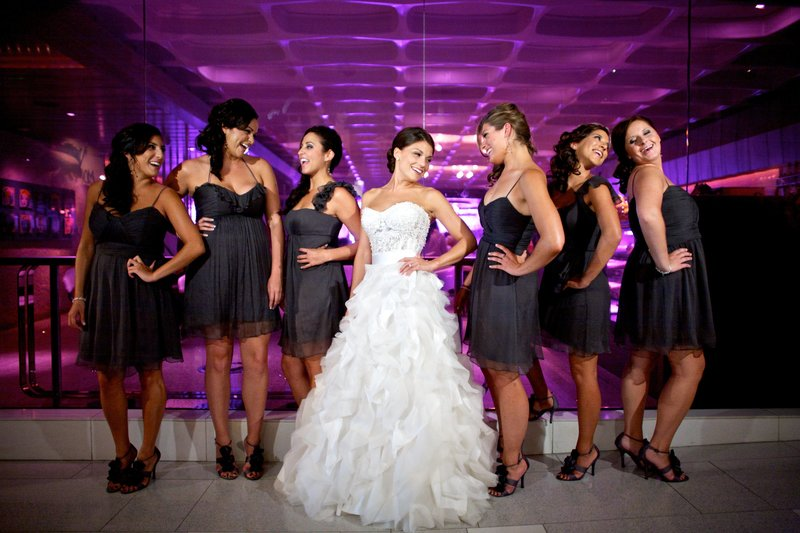 Bridesmaids and Bride with Black dresses at Hard Rock Hotel Ballroom