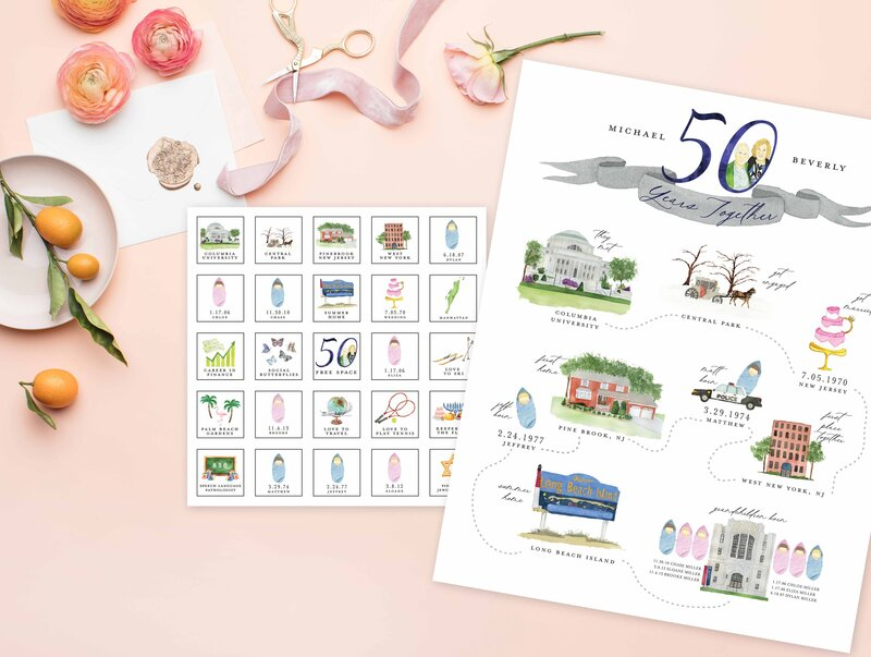 50th wedding anniversary gift love story timeline with sentimental illustrations and memories