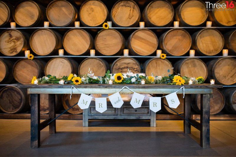Peltzer Winery Wedding Venue Photography Temecula Bride and Groom Table