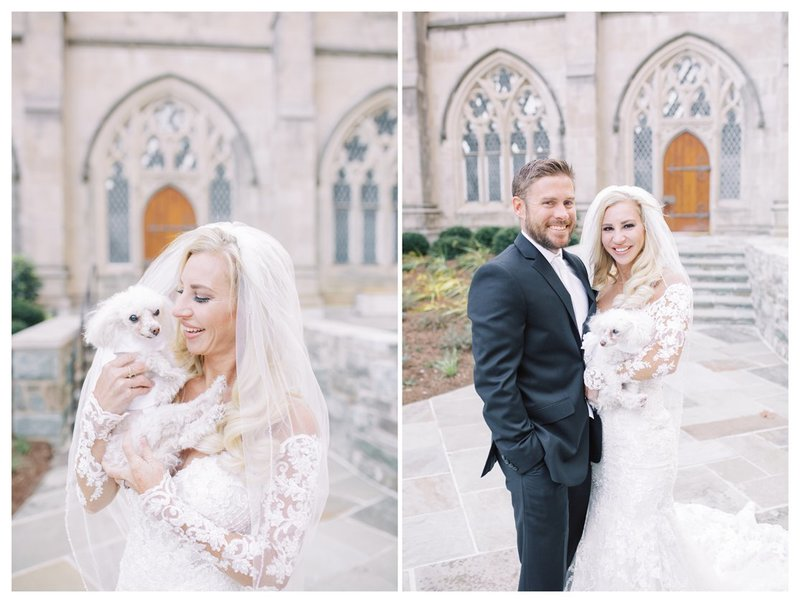 Wedding in DC at the National Cathedral. Luxury wedding with beautiful florals. Bride and Groom with dog.