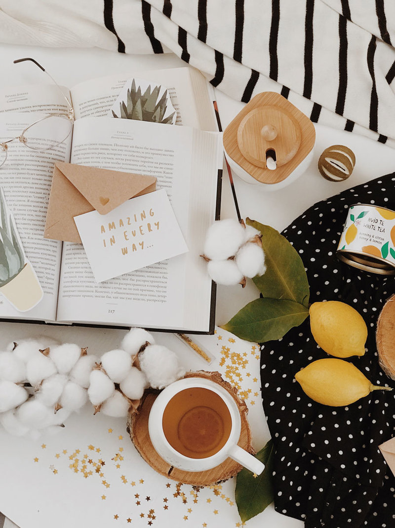 tea, lemons and book flat lay