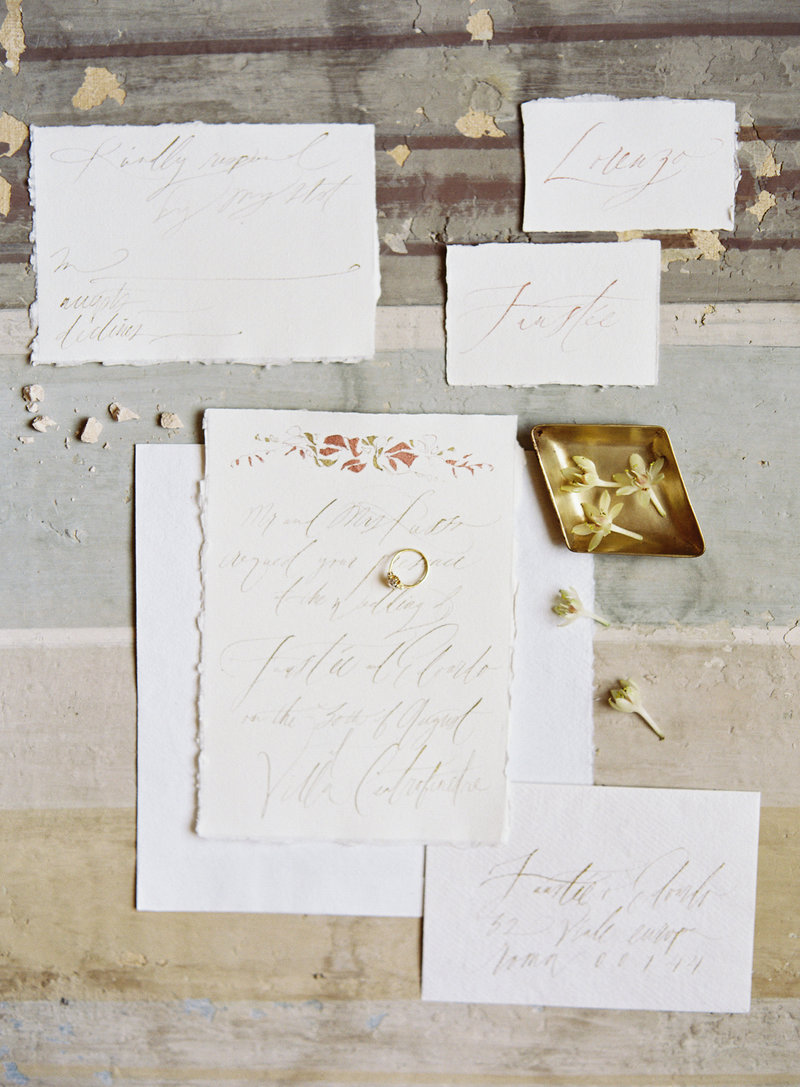 Calligraphy by Tara Spencer, Photography by Michael and Carina Photography