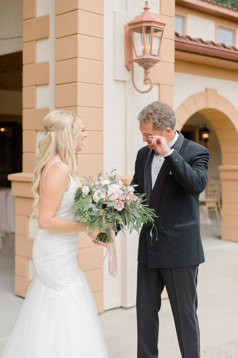 father of bride crying at first look at Running Hare Vineyard Wedding photographer costola photography