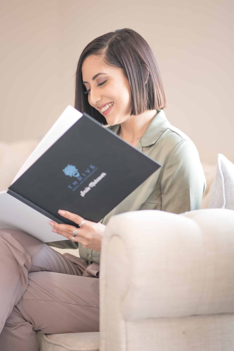 Patient Looking at Smile Book
