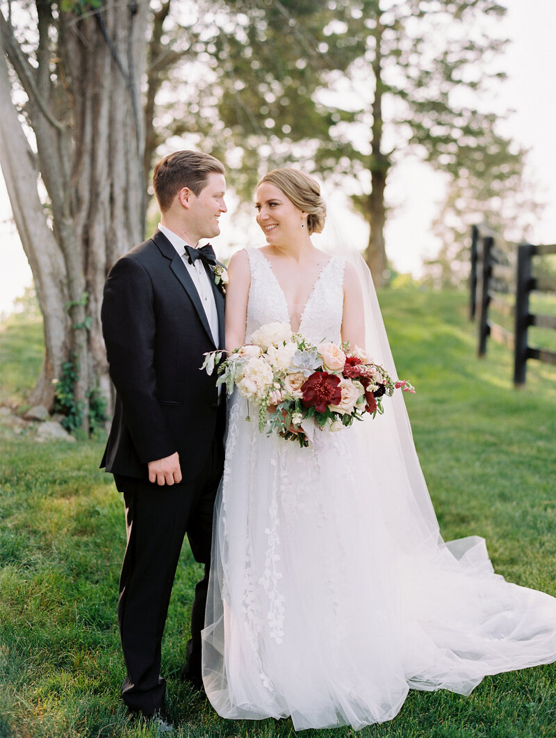 Bride and Groom at Summer Outdoor Wedding