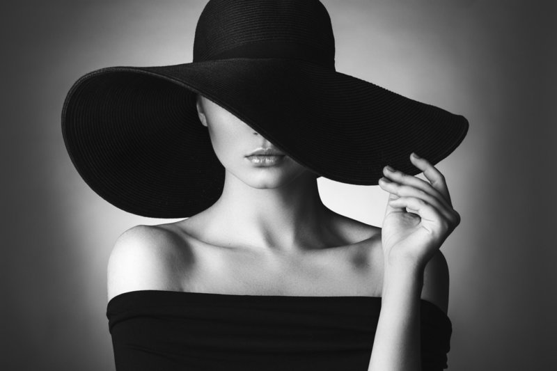 stock photo - woman hat - black and white