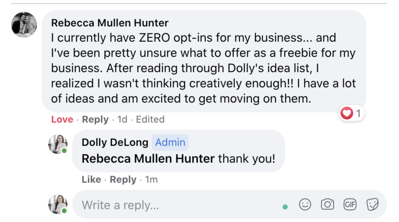 screen shot of a review from Rebecca Hunter about the Lead Magnet Idea Master list by Dolly DeLong Education