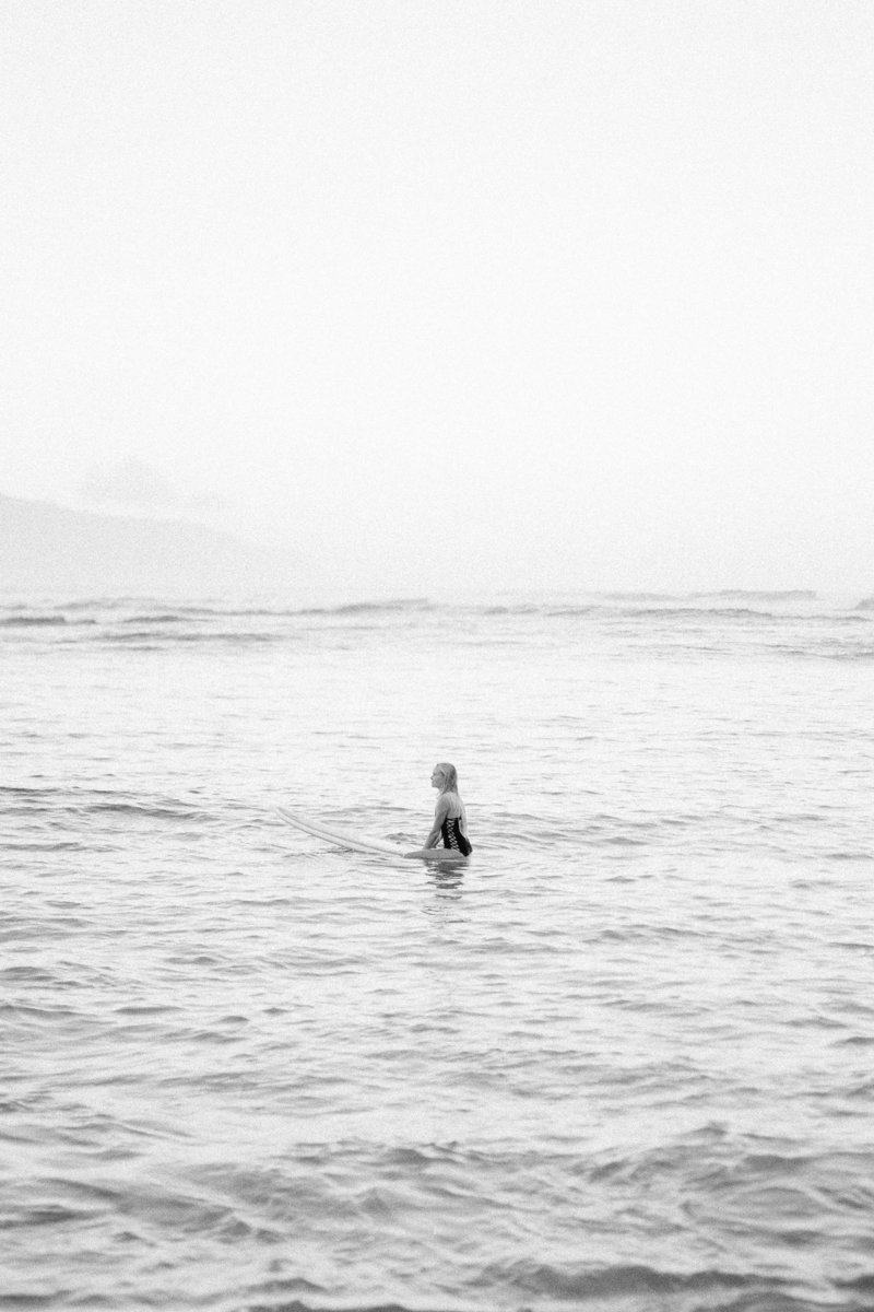 Oahu Hawaii North Shore surfer film photographer black and white lifestyle photoshoot