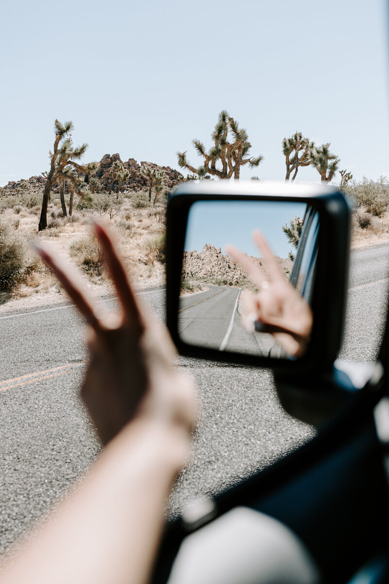 fingers in peace sign in rear view mirror