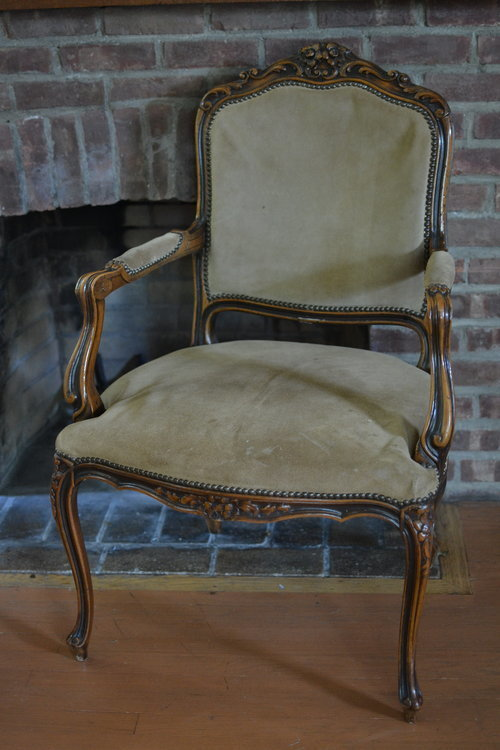 Suede Louis XV Chair