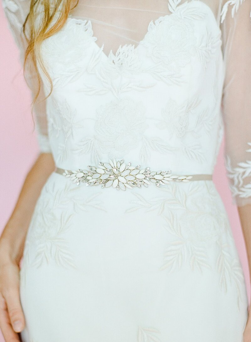 Hushed Commotion 2018, Yale, beaded ivory and crystal belt detail, Darby