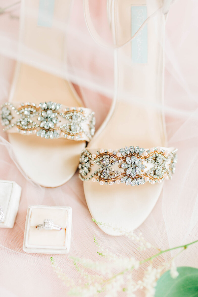Beaded wedding shoes and wedding rings