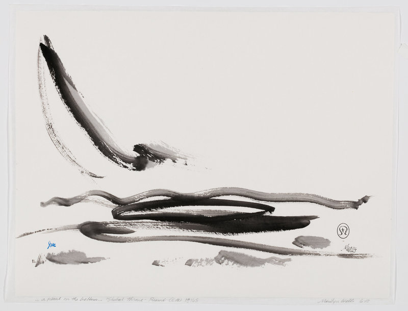 "Ink and Paper, Sumi e abstract, based on Rumi quote, ""When you see a pearl on the bottom you reach through the foam and the broken sticks on the surface."""