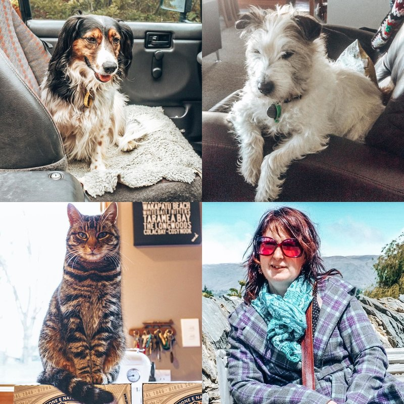 Lynda with fur babies, Invercargill, New Zealand