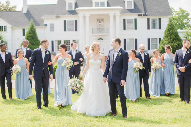 wedding party in front of manor at eastern shore wedding at kirkland manor by costola photography