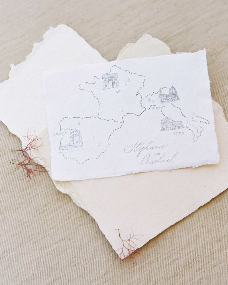 Dominique Alba  wedding invitations custom illustrated map card european wedding