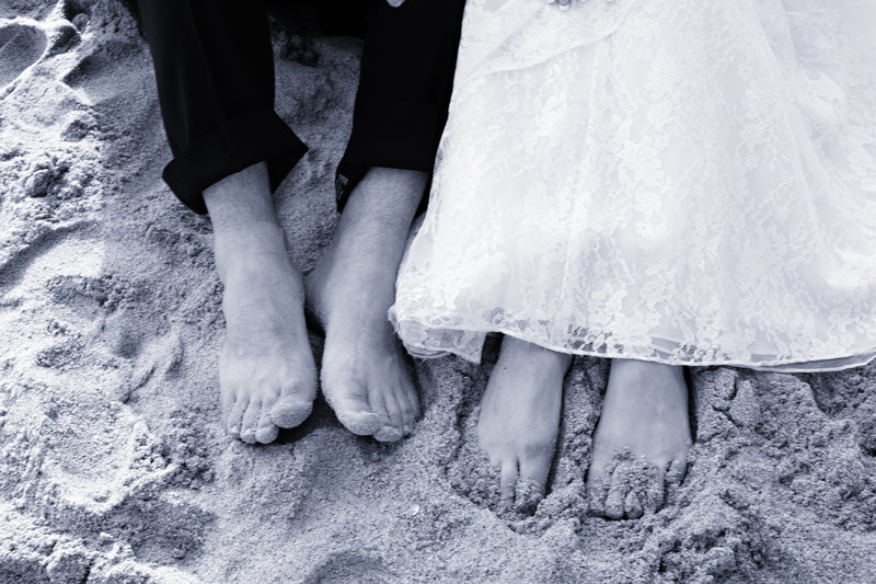 feet in the sand wedding