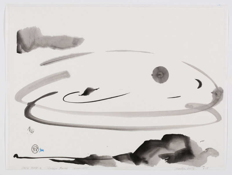 abstract pond with leaf and rocks. A leaf falls in without a sound. Matsuo Bashō - sumi on mulberry paper