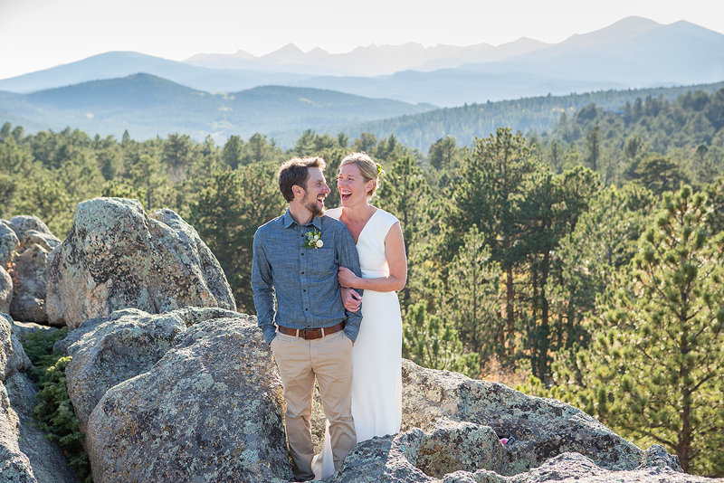 Colorado mountain wedding photographer with Emily and Joel in Jamestown CO