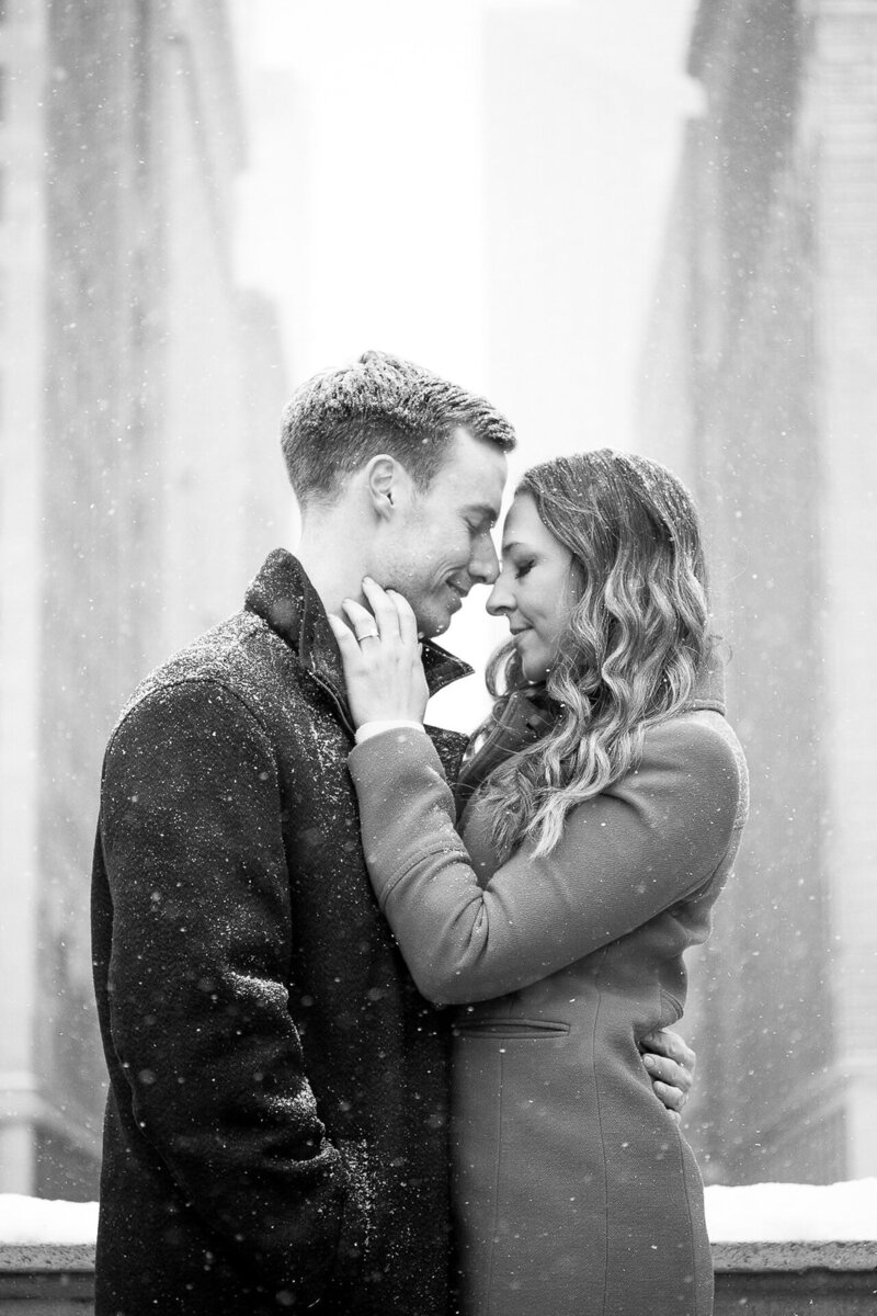 snowy winter downtown detroit engagement session