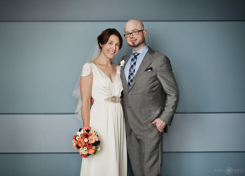 Cute inidie couple on their wedding day indoors in Denver