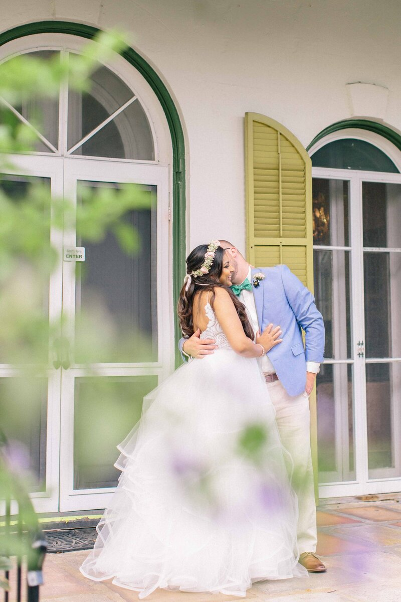 Bride and Groom at the Hemingway Home
