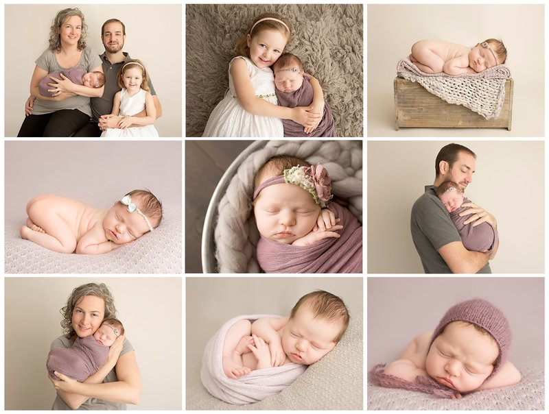 purple and gray newborn session